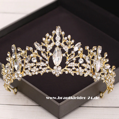 Wilhelmina Kristall Tiara in Gold