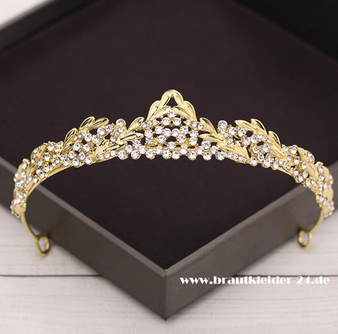 Estelle Kristall Tiara in Gold