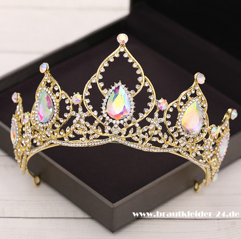 Poppy Kristall Tiara in Gold
