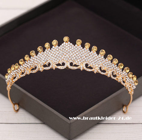 Ada Kristall Tiara in Gold