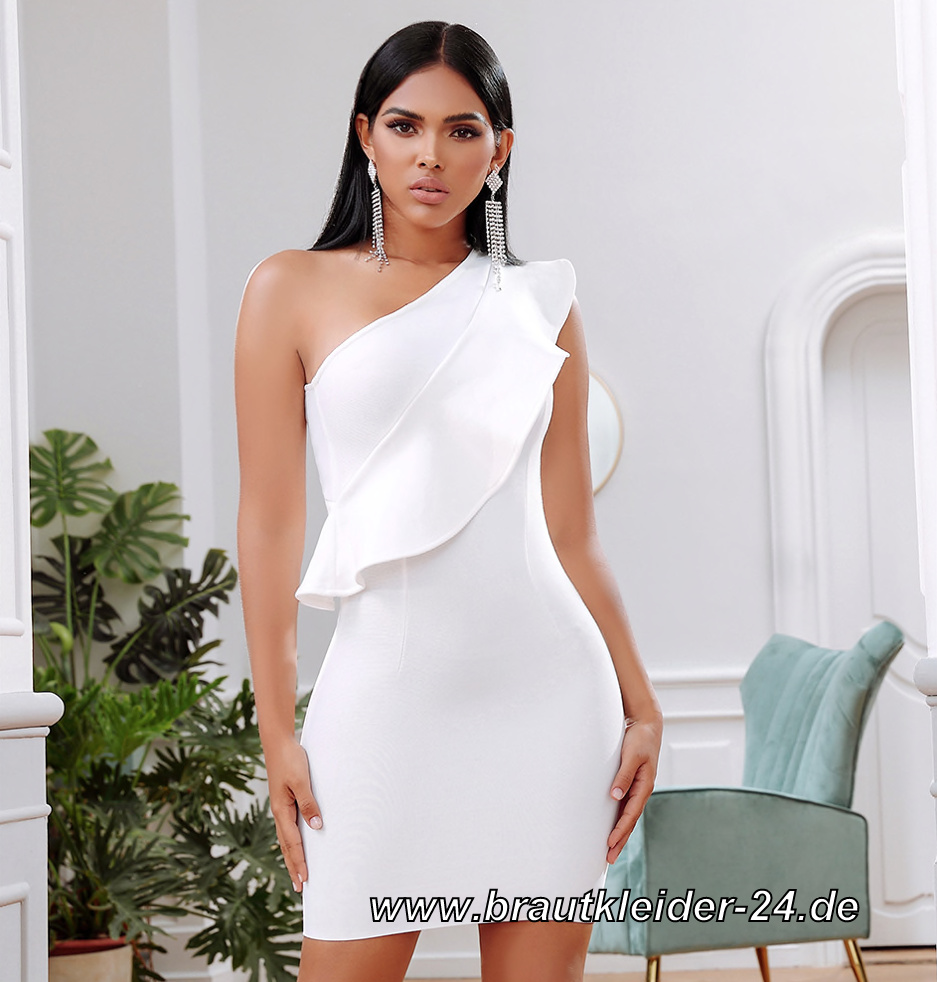 One Shoulder Bodycon Standesamtkleid Knielang in Weiss