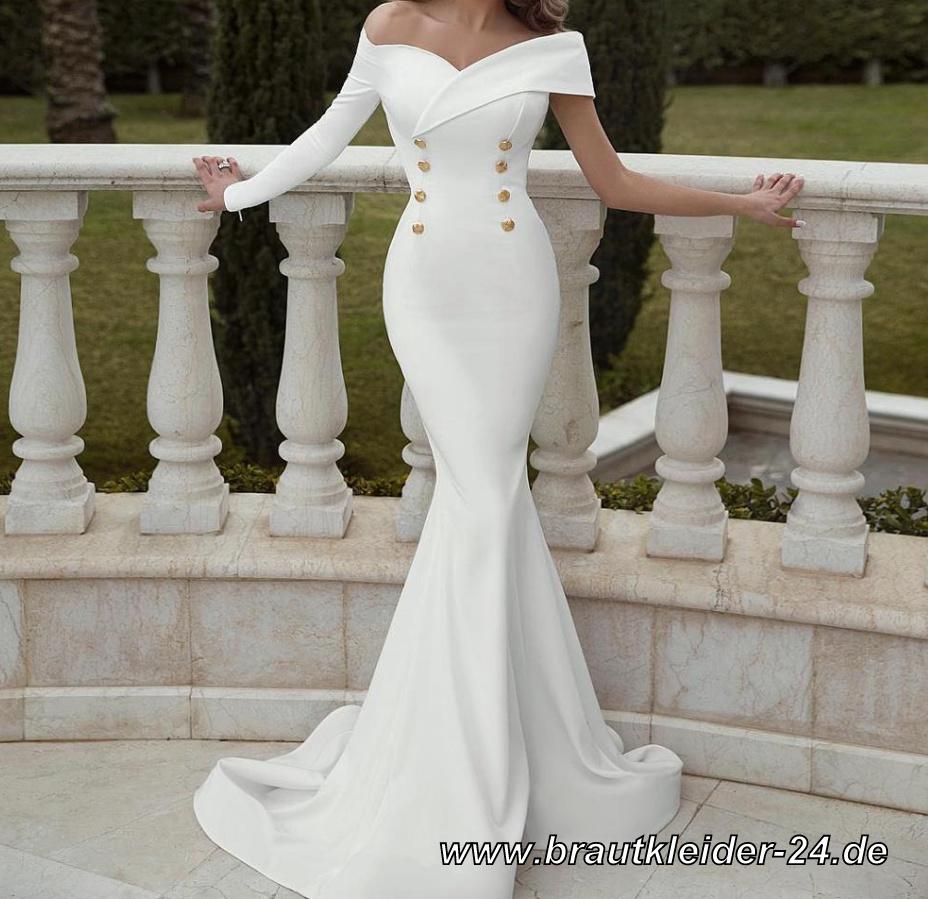Elegantes One Shoulder Meerjungfrau Kleid in Weiß Standesamtkleid Lang