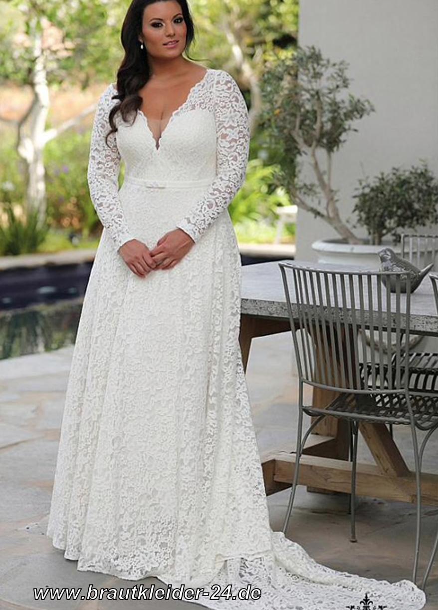 Langarm Empire Brautkleid aus Spitze mit Schleppe