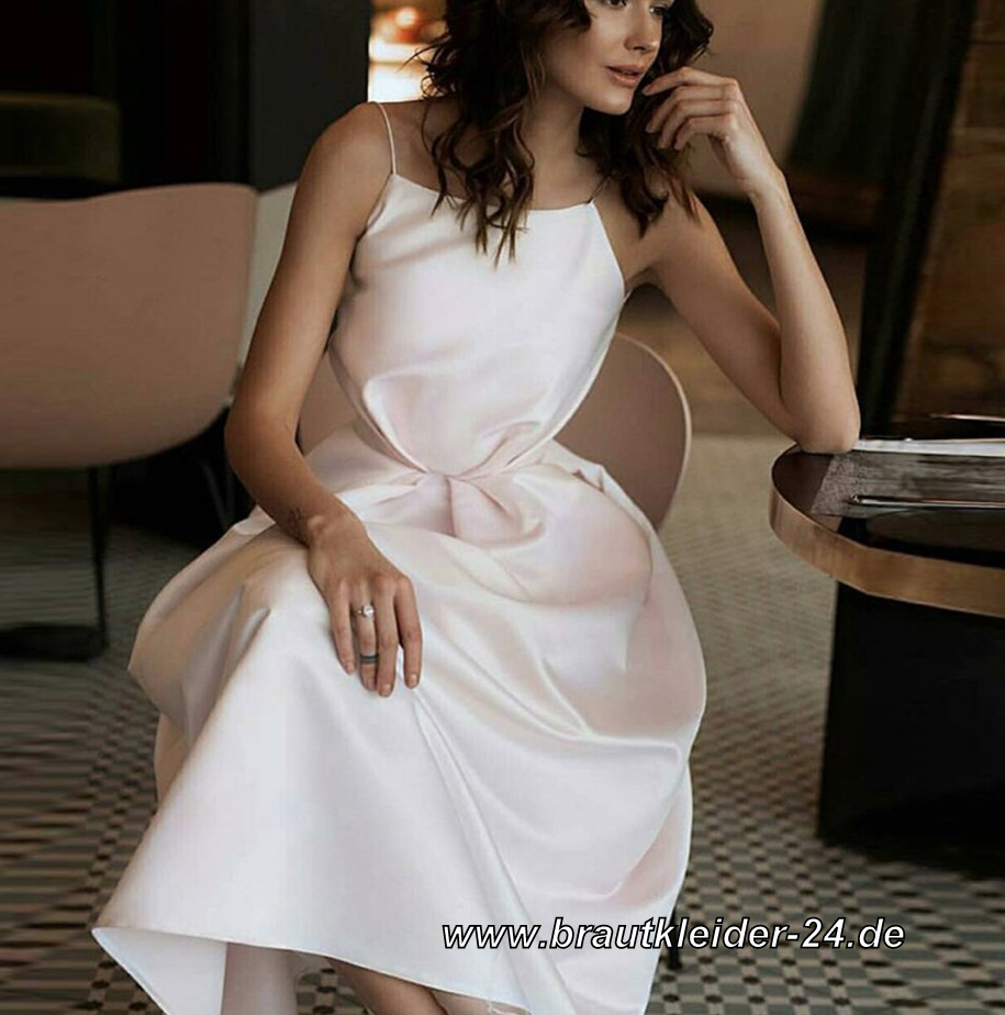 Elegantes Kurzes Satin Kleid in Weiß Standesamtkleid Knielang