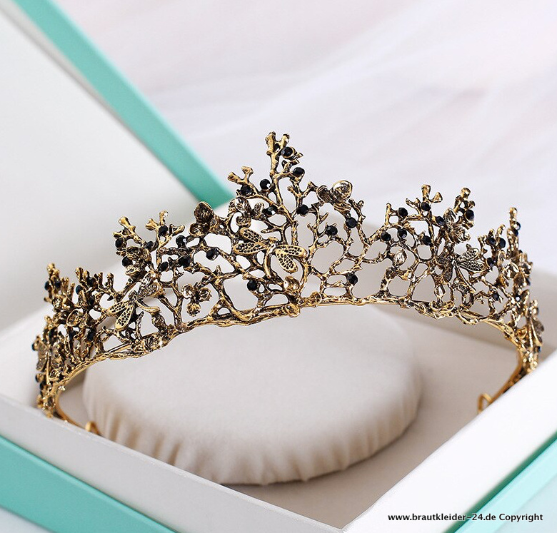 Retro Barock Diadem in Schwarz Gold