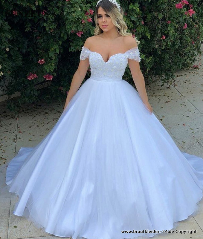 Schulterfreies Ball Linie Brautkleid Ashly in Himmelblau